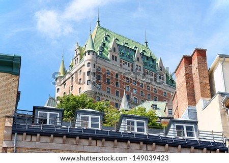 Chateau Frontenac Hotel in Quebec City view from the lower old town. The first version of this castle like hotel was designed by architect Bruce Price and opened to public in 1893. Quebec, Canada. - stock photo