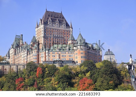 Chateau Frontenac in autumn, Quebec City, Canada - stock photo
