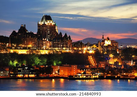 Chateau Frontenac in Old Quebec City - stock photo