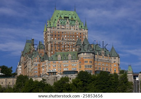 Chateau Frontenac in Quebec City, Canada, summer view - stock photo