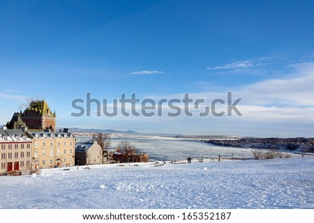 Chateau Frontenac in winter - stock photo
