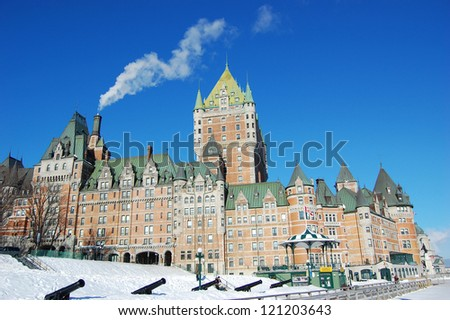 Chateau Frontenac in winter, Quebec City, Quebec, Canada - stock photo