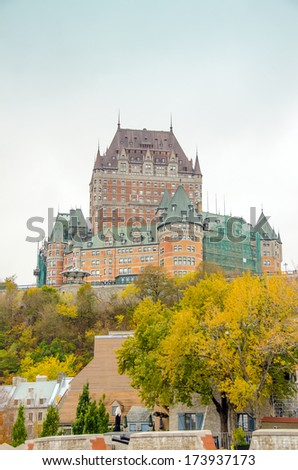 Chateau Frontenac, Quebec City, Canada - view from pier - stock photo
