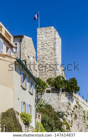Chateau Grimaldi in Antibes - now Picasso museum - here is one of world's greatest Picasso collections. Antibes is a resort town in Alps-Maritimes department in southeastern France, Cote d'Azur. - stock photo