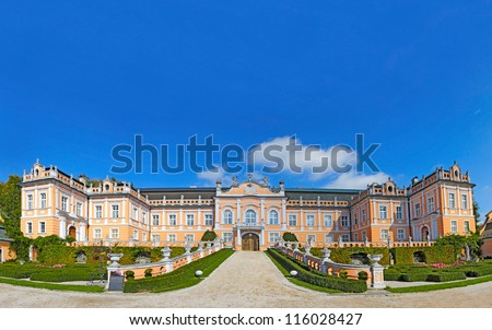 """Chateau Nove Hrady. This Rococo building was constructed in the period from 1774 to 1777. The whole chateau complex is being called """"Small Schonbrunn"""" or """"Czech Versailles"""". Czech Republic - stock photo"""