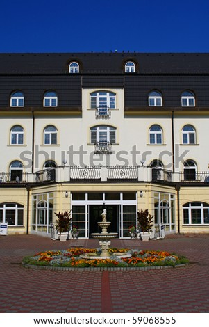 chateau style hotel - stock photo