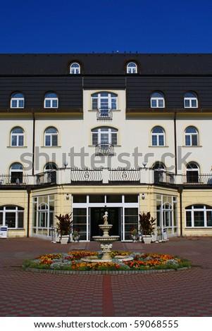 chateau style hotel - stock photo