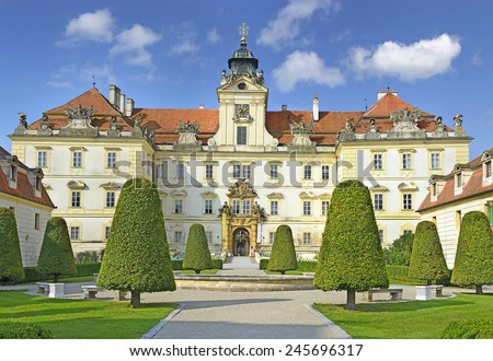 Chateau Valtice, Czech Republic, Lednice-Valtice Cultural Landscape is World Heritage Site by UNESCO. Valtice is one of the most impressive baroque residences of Central Europe - stock photo