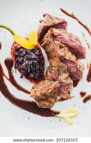Chateaubriand with onion marmalade - stock photo