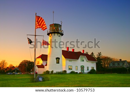 "Chatham Lighthouse is a lighthouse in Chatham, Massachusetts, near the ""elbow"" of Cape Cod. - stock photo"