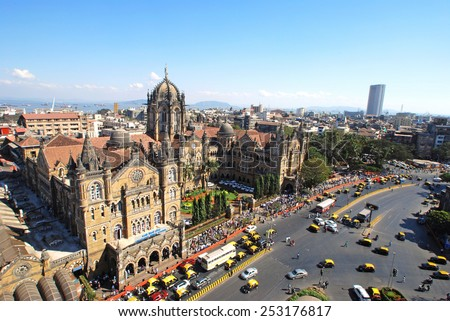 Chatrapati Shivaji Terminus Bird's eyeview and surrounding heritage precinct. Earlier Victoria Terminus it is a terminal, UNESCO World Heritage site and head- quarters for Central Railway. Copy space. - stock photo