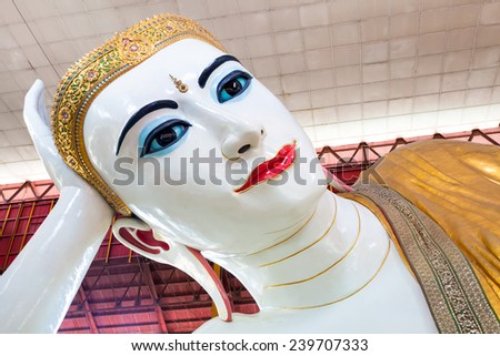 Chauk htat gyi reclining buddha (sweet eye buddha), yangon, myanmar - stock photo