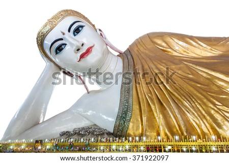 Chauk htat gyi reclining buddha (sweet eye buddha), yangon, myanmar  isolated on white background - stock photo