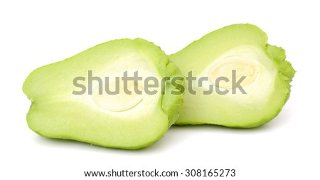 Chayote isolated on white background - stock photo