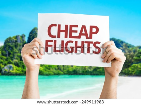 Cheap Flights card with a beach background - stock photo