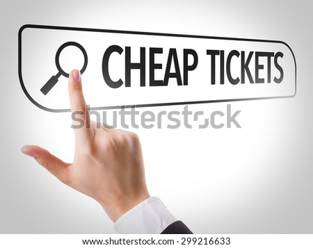 Cheap Tickets written in search bar on virtual screen - stock photo
