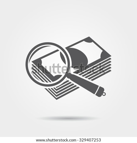 Check banknotes for authenticity icon - stock photo