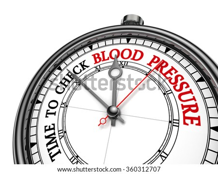 Check blood pressure red motivation message on concept clock, isolated on white background - stock photo