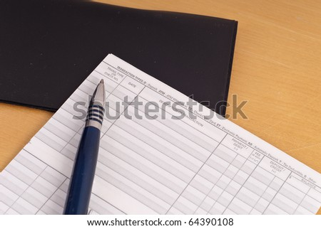 Check Book Balance Record Sheet - stock photo