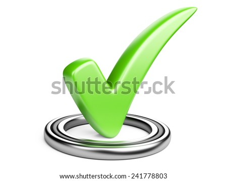Check box with green check mark isolated on white.  - stock photo