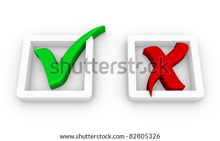 check boxes with positive and negative check marks - stock photo