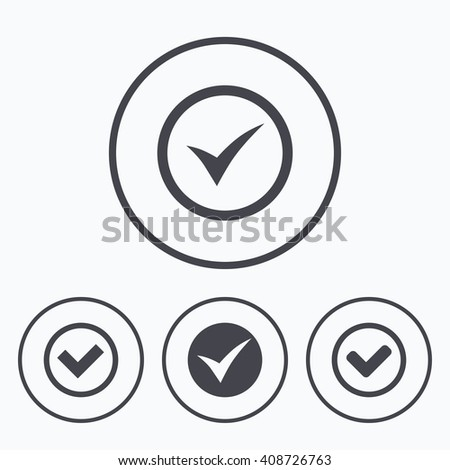 Check icons. Checkbox confirm circle sign symbols. Icons in circles. - stock photo