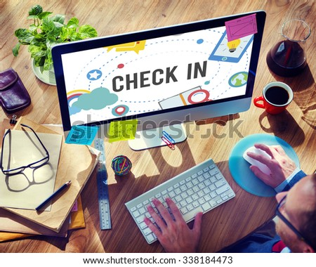 Check in Location Navigation Position Place Concept - stock photo