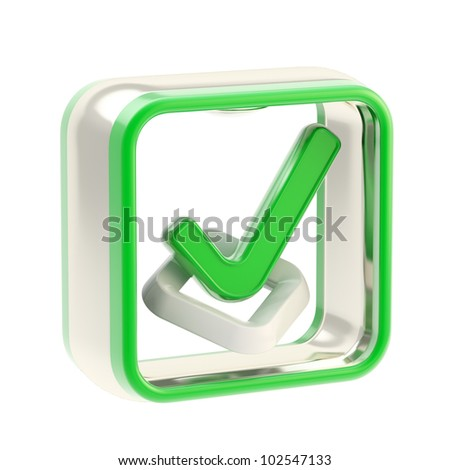 Check list glossy icon as application emblem isolated on white - stock photo