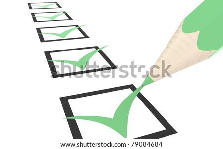 Check list. Green, Eco Edition - stock photo