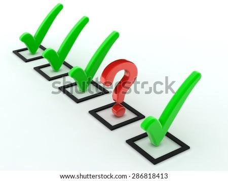 Check list question mark - stock photo