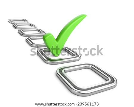 Check list with green check mark isolated on white. - stock photo
