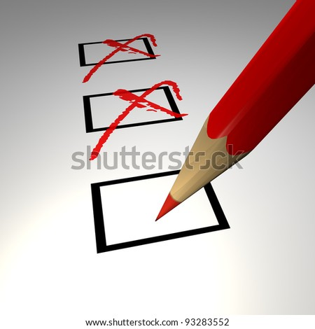 Check list with red pencil - stock photo
