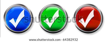 Check Mark 3-D RGB Buttons - stock photo