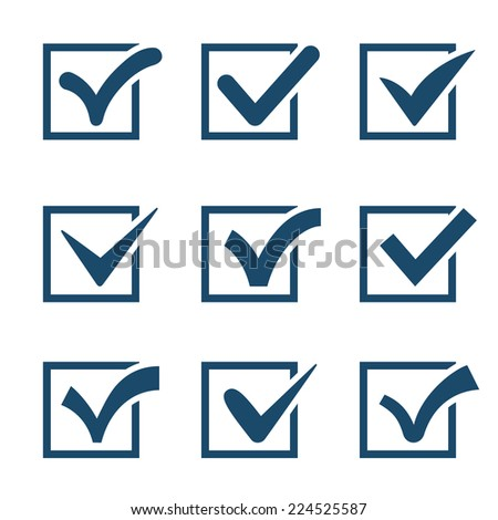 Check mark icon collection isolated on white background - stock photo