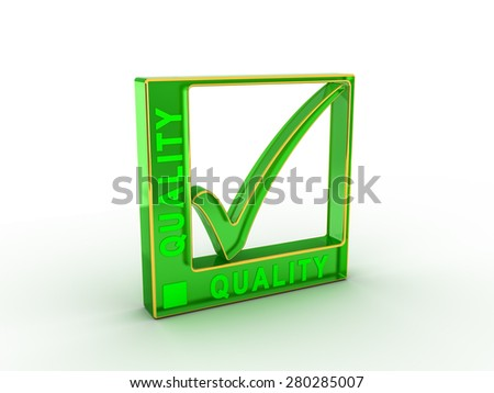 Check  mark icon in rectangle with QUALITY word - stock photo
