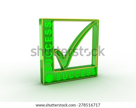 Check  mark icon in rectangle with SUCCESS word - stock photo