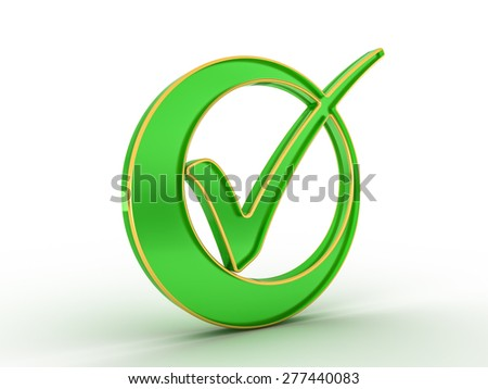 Check  mark icon with golden outline - stock photo