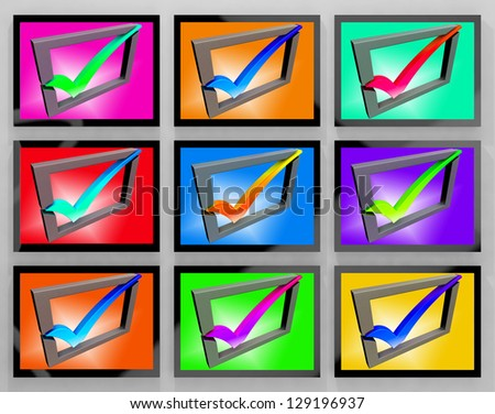 Check Marks On Monitors Showing Approved And Client - stock photo