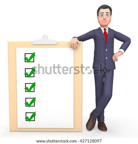 Check Marks Showing Tick Symbol And Entrepreneur 3d Rendering - stock photo
