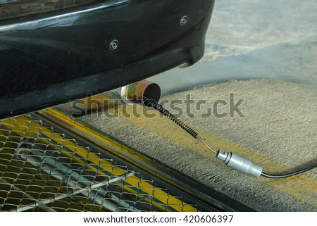 Check the exhaust system,Check exhaust pipes,exhaust pipes. - stock photo