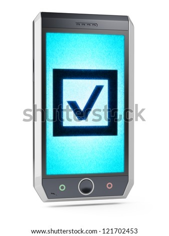 Check  This is my own design of smart phone, therefore you can use this picture for commercial purposes. Full collection of icons like that is in my portfolio - stock photo