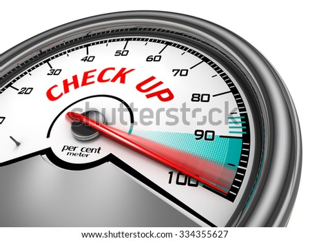 Check up to hundred per cent conceptual meter, isolated on white background - stock photo
