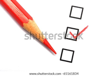 checkbox and pencil showing science education research or customer satisfaction survey concept - stock photo