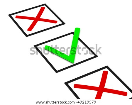 Checkbox with crosses and ticks isolated on white background. High quality 3d render. - stock photo