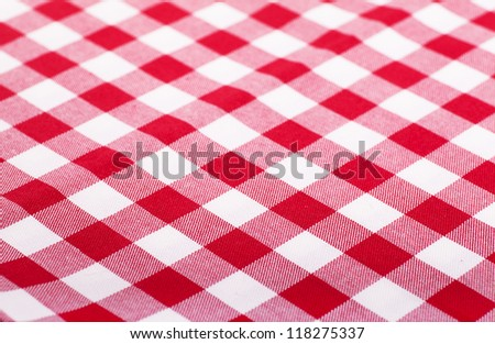 Checked with red and white tablecloth - stock photo