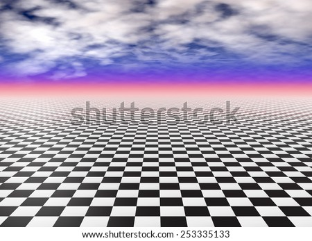 Checkerboard floor tiles, black and white - stock photo