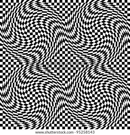 Checkerboard Warp pattern in black and white repeats seamlessly. - stock photo