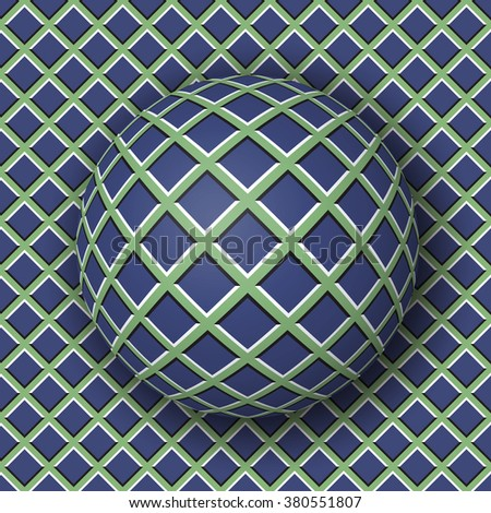 Checkered ball rolling along the checkered surface. Abstract optical illusion illustration. Extravagant background and tile of seamless wallpaper. - stock photo