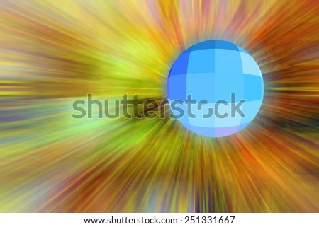 Checkered blue and blue-green planet hurtling toward an unseen source of universal radial blur as if traveling faster than light - stock photo