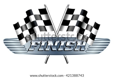 Checkered, Chequered Flags Motor Racing, FINISH - Raster Version - stock photo
